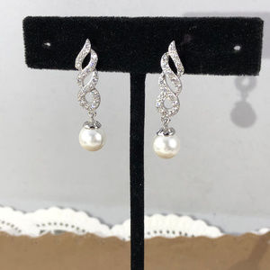 Gem Empourium Jewelry - 14K White Gold Plated White Pearls & Crystal Studs